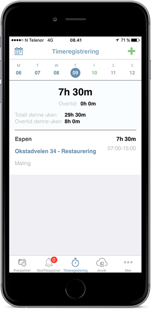 Elektronisk timeregistrering på mobil