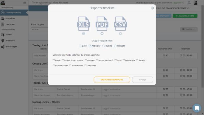 Hvordan laste ned excel, pdf eller csv rapport i 24onoff