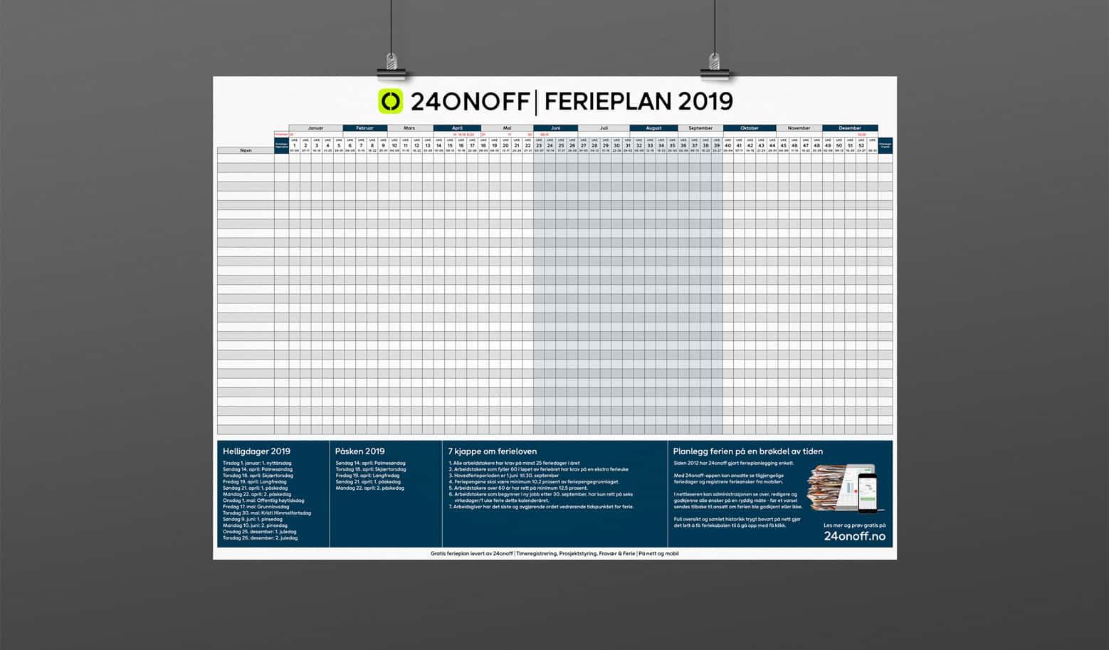 Last ned gratis ferieplan for 2019