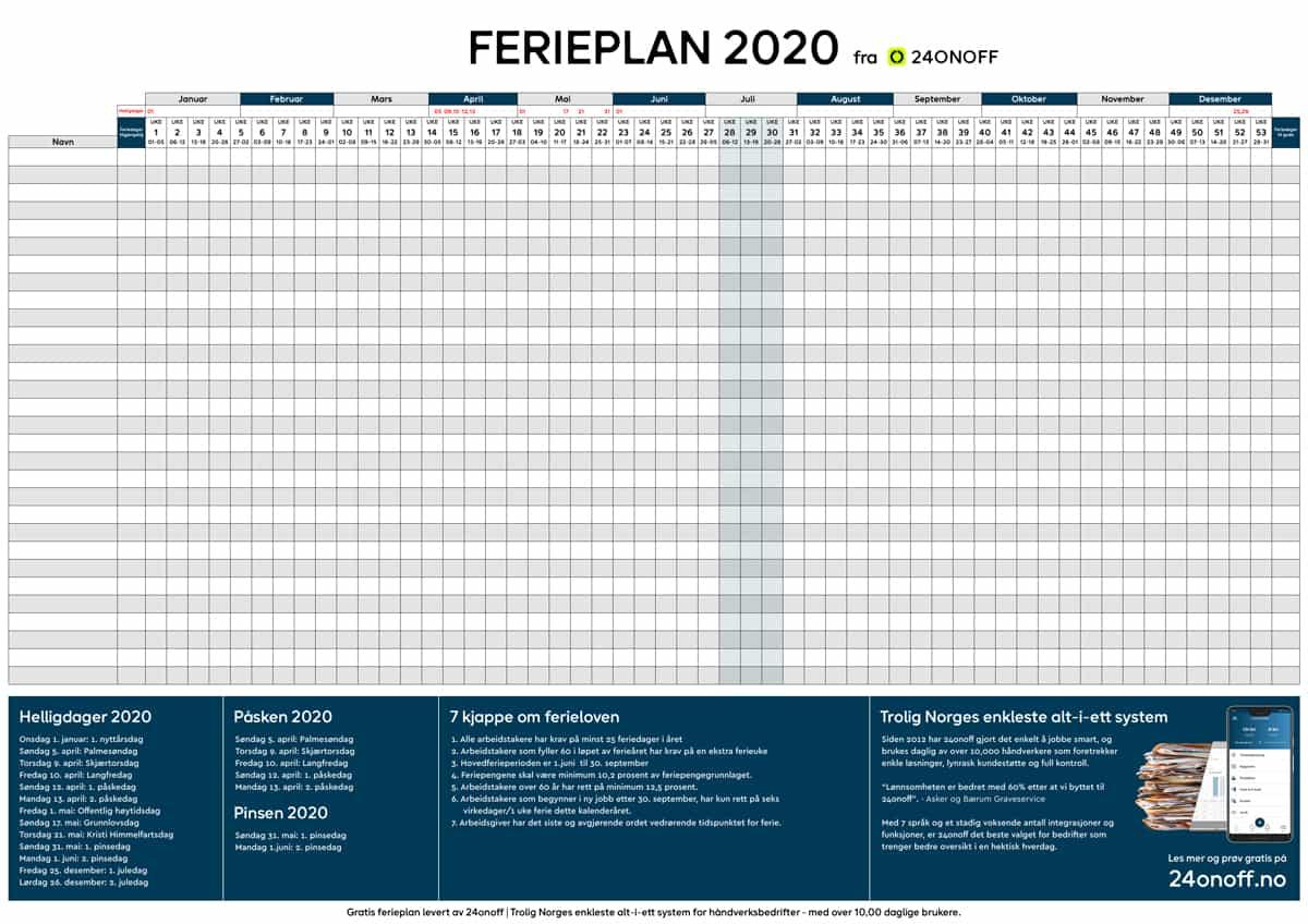 Gratis Ferieplan 2020 pdf