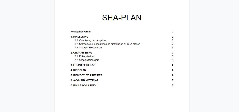 Hva en SHA-plan må inneholde