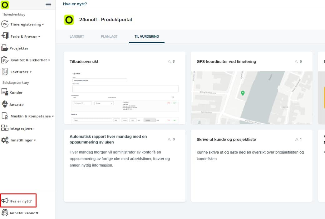 Produktportalen viser hva vi jobber med