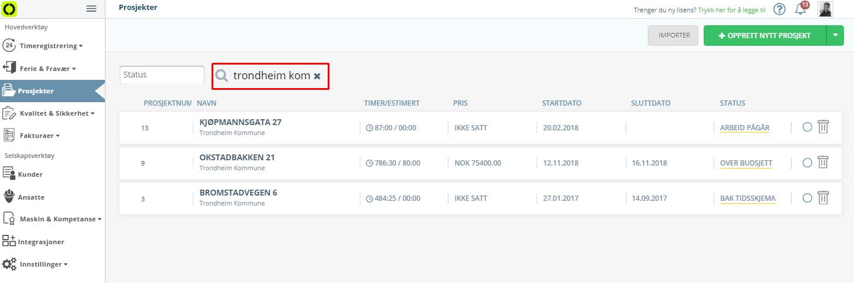 Prosjektstyring kan nå også filtreres etter kundenavn